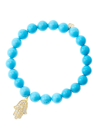 8mm Turquoise Beaded Bracelet with 14k Yellow Gold/Diamond Medium Hamsa ...