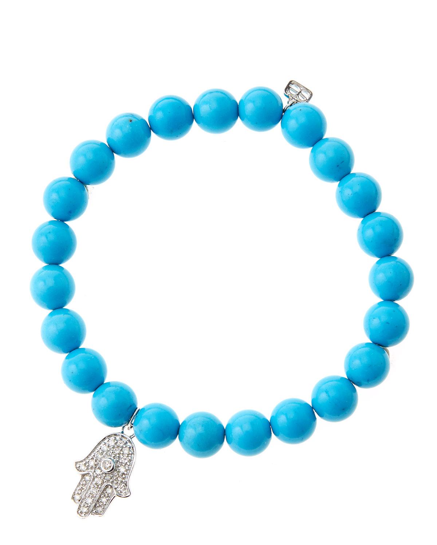 8mm Turquoise Beaded Bracelet with 14k White Gold/Diamond Medium Hamsa Charm