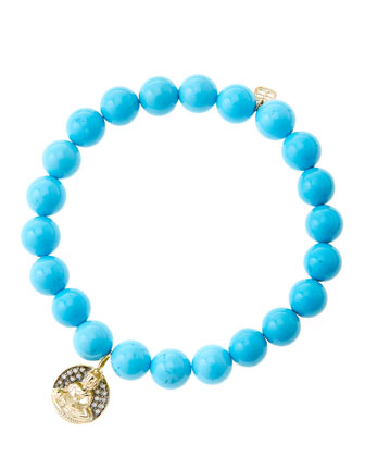 8mm Turquoise Beaded Bracelet with 14k Gold/Diamond Sitting Buddha Charm ...