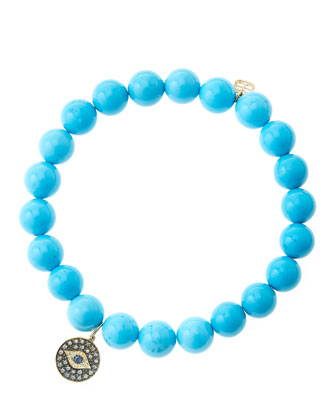 8mm Turquoise Beaded Bracelet with 14k Gold/Rhodium Diamond Small Evil Eye ...