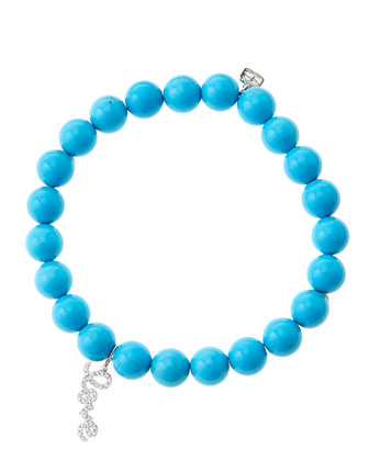 8mm Turquoise Beaded Bracelet with 14k White Gold/Diamond Love Charm (Made ...
