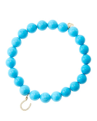 8mm Turquoise Beaded Bracelet with 14k Yellow Gold/Micropave Diamond ...