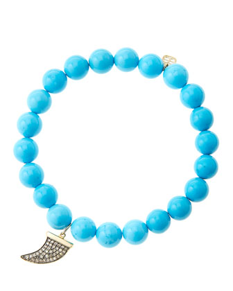 8mm Turquoise Beaded Bracelet with 14k Gold/Diamond Medium Horn Charm (Made ...