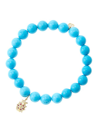8mm Turquoise Beaded Bracelet with 14k Gold/Diamond Medium Ladybug Charm ...