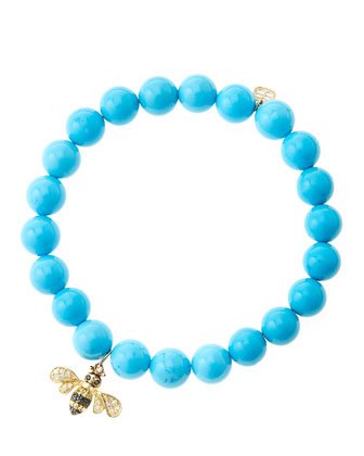 8mm Turquoise Beaded Bracelet with 14k Gold/Diamond Bee Charm (Made to ...