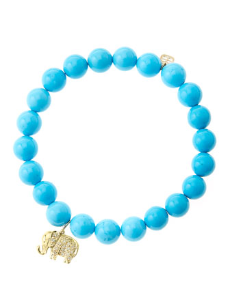 8mm Turquoise Beaded Bracelet with 14k Gold/Diamond Small Elephant Charm ...