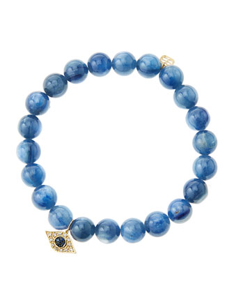 8mm Kyanite Beaded Bracelet with 14k Yellow Gold/Diamond Small Evil Eye ...