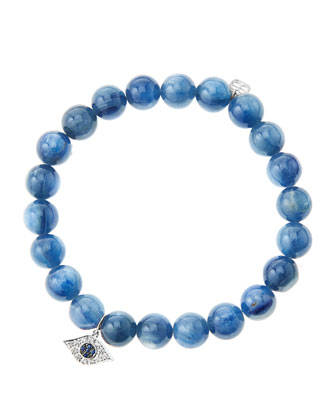 8mm Kyanite Beaded Bracelet with 14k White Gold/Diamond Small Evil Eye ...
