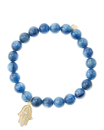 8mm Kyanite Beaded Bracelet with 14k Yellow Gold/Diamond Medium Hamsa Charm ...