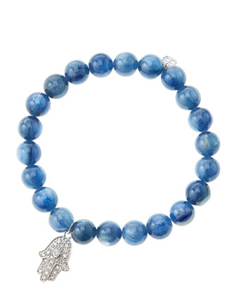 8mm Kyanite Beaded Bracelet with 14k White Gold/Diamond Medium Hamsa Charm ...