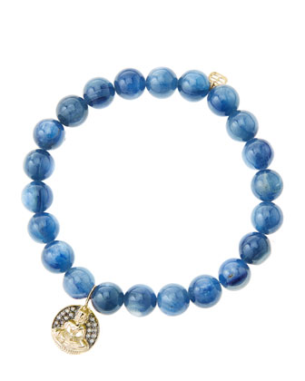 8mm Kyanite Beaded Bracelet with 14k Gold/Diamond Sitting Buddha Charm ...