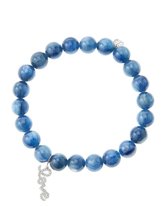 8mm Kyanite Beaded Bracelet with 14k White Gold/Diamond Love Charm (Made to ...