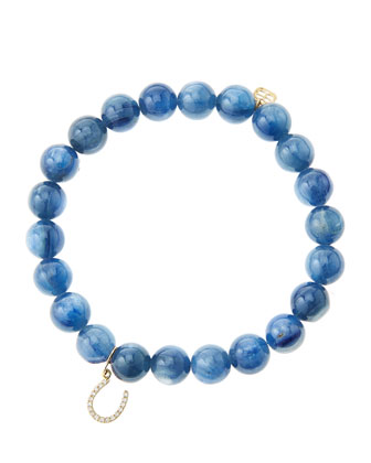 8mm Kyanite Beaded Bracelet with 14k Yellow Gold/Micropave Diamond ...