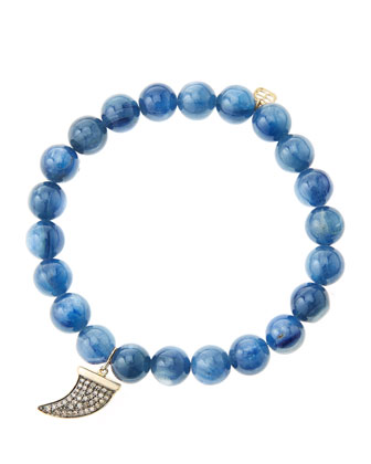 8mm Kyanite Beaded Bracelet with 14k Gold/Diamond Medium Horn Charm (Made ...