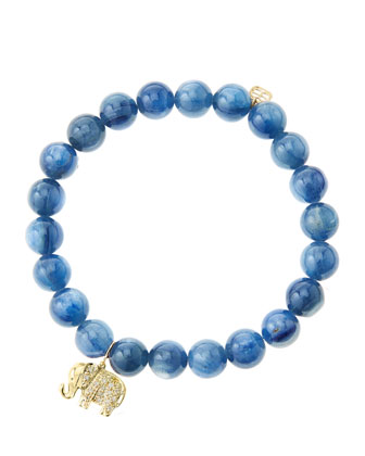 8mm Kyanite Beaded Bracelet with 14k Gold/Diamond Small Elephant Charm ...