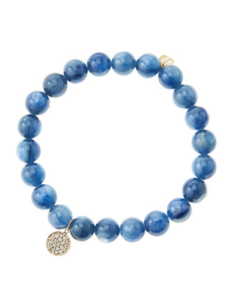 8mm Kyanite Beaded Bracelet with Mini Yellow Gold Pave Diamond Disc Charm ...