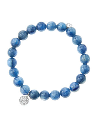 8mm Kyanite Beaded Bracelet with Mini White Gold Pave Diamond Disc Charm ...