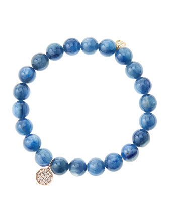 8mm Kyanite Beaded Bracelet with Mini Rose Gold Pave Diamond Disc Charm ...