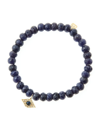 6mm Faceted Sapphire Beaded Bracelet with 14k Yellow Gold/Diamond Small ...