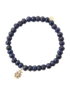 6mm Faceted Sapphire Beaded Bracelet with 14k Gold/Diamond Medium Ladybug Charm (Made to Order)