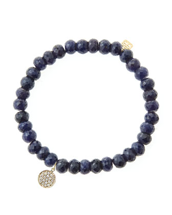 6mm Faceted Sapphire Beaded Bracelet with Mini Yellow Gold Pave Diamond ...