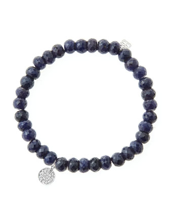 6mm Faceted Sapphire Beaded Bracelet with Mini White Gold Pave Diamond Disc ...