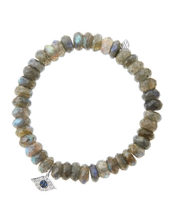 8mm Faceted Labradorite Beaded Bracelet with 14k White Gold/Diamond Small ...