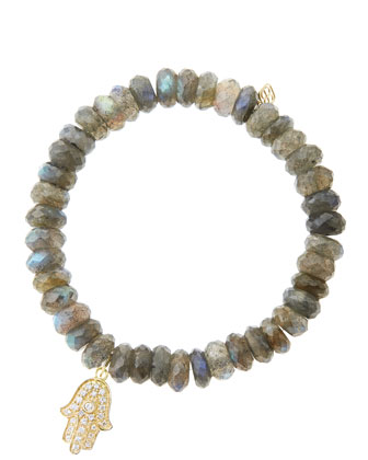 8mm Faceted Labradorite Beaded Bracelet with 14k Yellow Gold/Diamond Medium ...