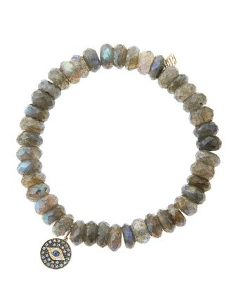 8mm Faceted Labradorite Beaded Bracelet with 14k Gold/Rhodium Diamond Small ...