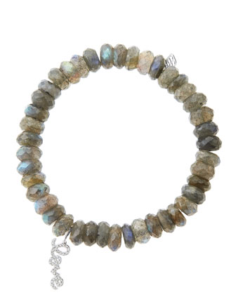 8mm Faceted Labradorite Beaded Bracelet with 14k White Gold/Diamond Love ...