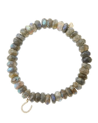 8mm Faceted Labradorite Beaded Bracelet with 14k yellow gold/Micropave ...