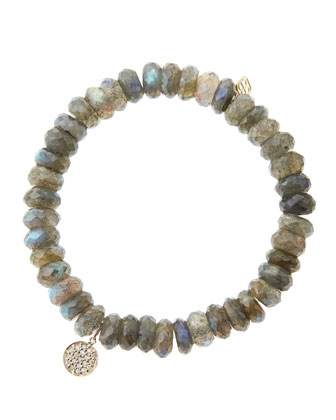 8mm Faceted Labradorite Beaded Bracelet with Mini Yellow Gold Pave Diamond ...