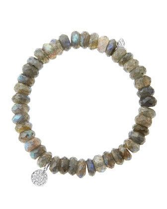 8mm Faceted Labradorite Beaded Bracelet with Mini White Gold Pave Diamond ...