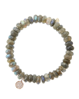 8mm Faceted Labradorite Beaded Bracelet with Mini Rose Gold Pave Diamond ...