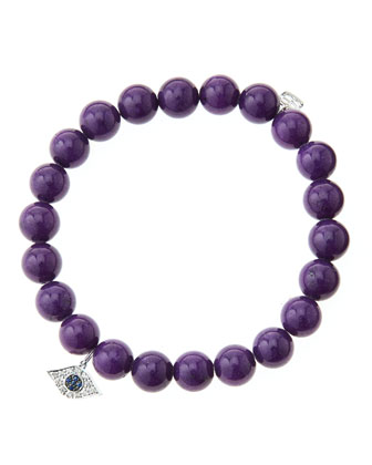 8mm Purple Mountain Jade Beaded Bracelet with 14k White Gold/Diamond Small ...