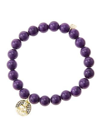 8mm Purple Mountain Jade Beaded Bracelet with 14k Gold/Diamond Sitting ...