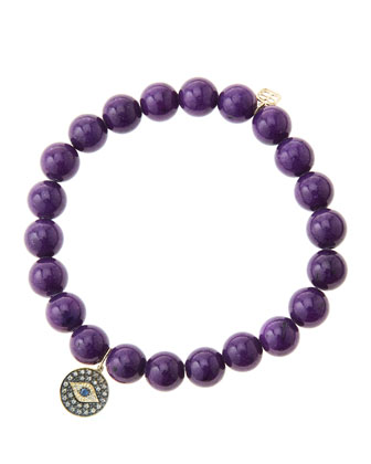 8mm Purple Mountain Jade Beaded Bracelet with 14k Gold/Rhodium Diamond ...
