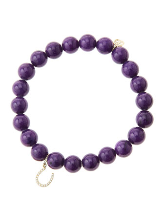 8mm Purple Mountain Jade Beaded Bracelet with 14k Yellow Gold/Micropave ...