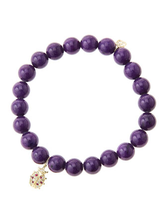 8mm Purple Mountain Jade Beaded Bracelet with 14k Gold/Diamond Medium ...
