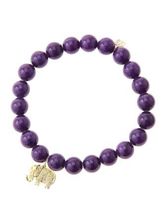 8mm Purple Mountain Jade Beaded Bracelet with 14k Gold/Diamond Small ...