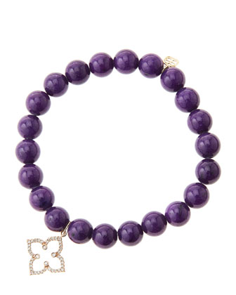 8mm Purple Mountain Jade Beaded Bracelet with 14k Rose Gold/Diamond ...