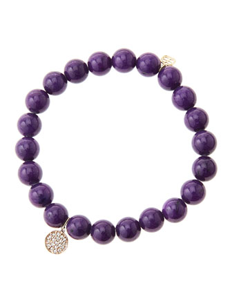 8mm Purple Mountain Jade Beaded Bracelet with Mini Rose Gold Pave Diamond ...