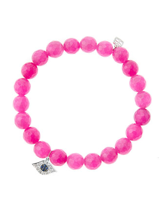 8mm Faceted Fuchsia Agate Beaded Bracelet with 14k White Gold/Diamond Small ...