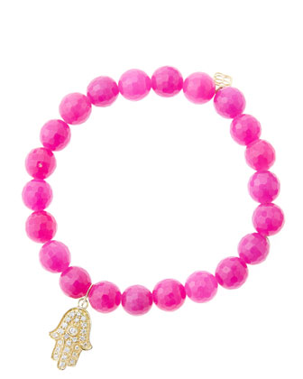 8mm Faceted Fuchsia Agate Beaded Bracelet with 14k Yellow Gold/Diamond ...