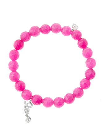 8mm Faceted Fuchsia Agate Beaded Bracelet with 14k White Gold/Diamond Love ...