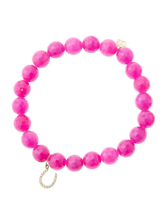 8mm Faceted Fuchsia Agate Beaded Bracelet with 14k Yellow Gold/Micropave ...