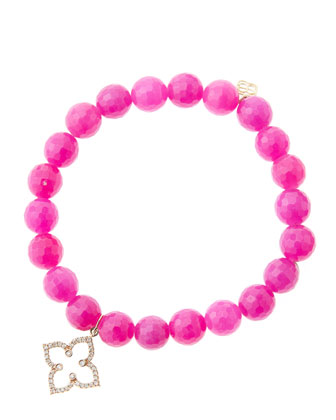 8mm Faceted Fuchsia Agate Beaded Bracelet with 14k Rose Gold/Diamond ...