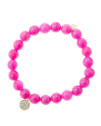 8mm Faceted Fuchsia Agate Beaded Bracelet with Mini Rose Gold Pave Diamond ...