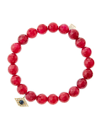 8mm Faceted Red Agate Beaded Bracelet with 14k Yellow Gold/Diamond Small ...