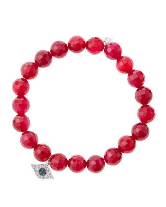 8mm Faceted Red Agate Beaded Bracelet with 14k White Gold/Diamond Small ...